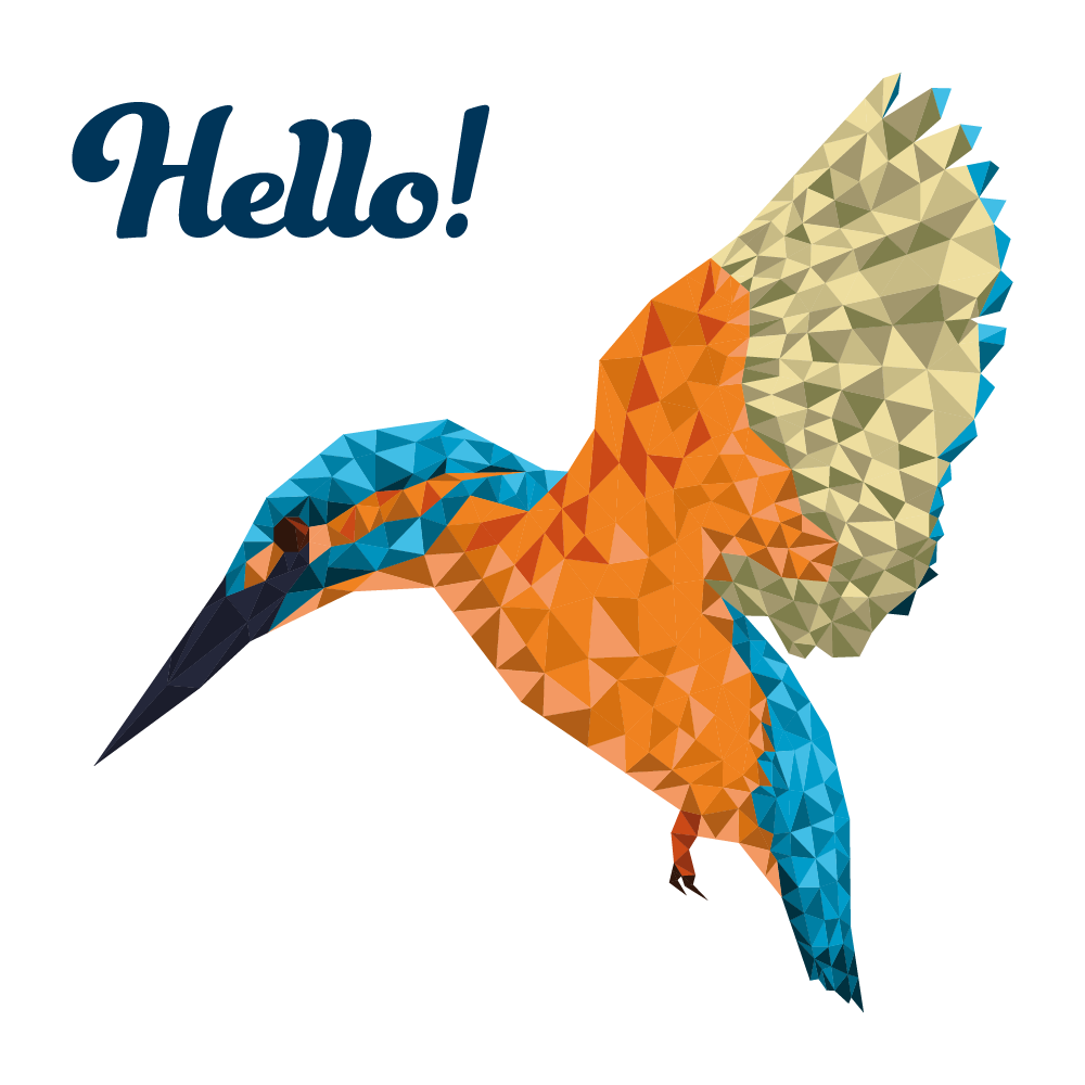 Say hello to beautiful and colourful vector kingfisher in geometrical low poly technique